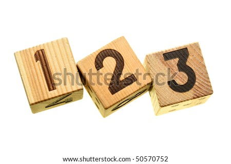 Wooden blocks with digits 123 isolated over the white background
