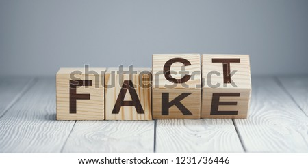 "Wooden blocks with letters forming words ""Fact"" and ""Fake"" on neutral background #1231736446"