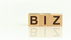 Wooden Blocks with the text: BIZ. The text is written in black letters and is reflected in the mirror surface of the table. New business relaunch startup concept.