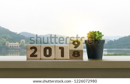 Wooden blocks with the word 2019 and cactus on table with panoramic lake landscape background in the morning. Happy New Year, start up, refresh, mindset concept.