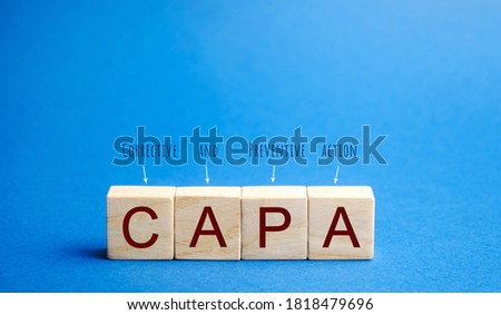 Wooden blocks with the word CAPA. Corrective and Preventive action plans. Business management concept. Strategy and efficiency. Improving organizational processes. Performance Stock fotó ©