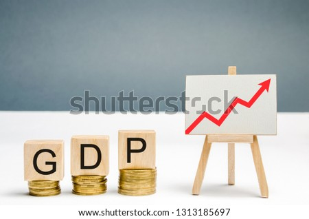Wooden blocks with the word GDP and up arrow. Technological progress, increasing the level of workers, improving the allocation of resources, improving the management of production activities