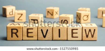 Wooden blocks with the word Review. Customer review concept. Reviewing, auditing, reviewer. Service rating. Feedback. #1527550985
