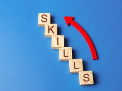 Wooden blocks with the word Skills and up arrow. Knowledge and skill. Self improvement. Education concept. Training. Leadership skills. Human abilities. Growth, increase
