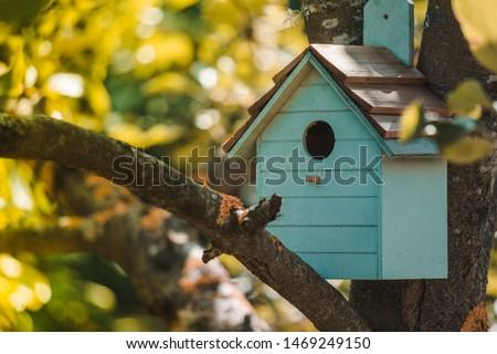 Wooden blue birdhouse on a apple tree in the farm park zone. Simple birdhouse design. Shelter for bird breeding, nesting box on a tree Stockfoto ©