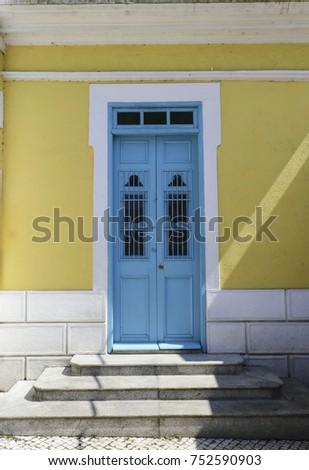 wooden blue door at st. francis ...