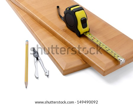 Wooden board and tools on a white background #149490092