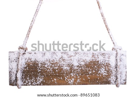 wooden board in the snow. on a white background
