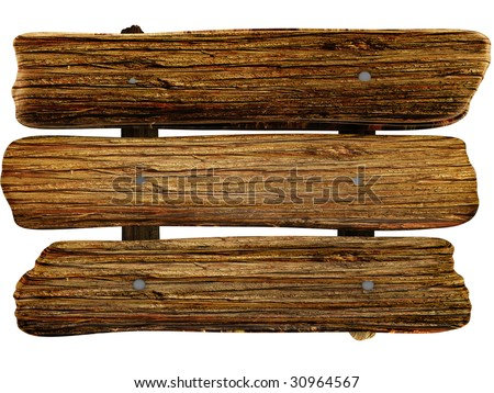 wooden board isolated white color