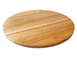 Wooden board on white background,Circle wood plate isolated