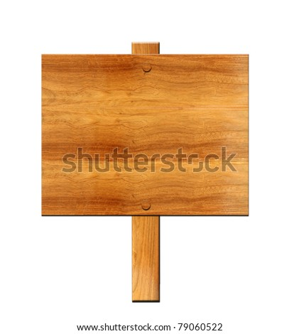 Wooden board sign isolate on white