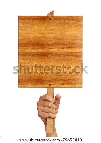 Wooden board sign on hand isolate on white