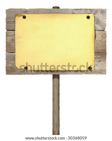 Wooden board sign with blank paper (3d illustration)