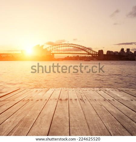 Wooden board, Sydney in sunset.