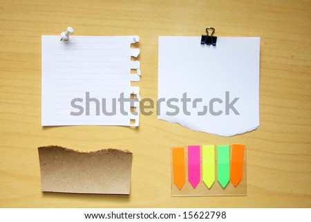 wooden board with blank note paper