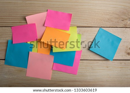 Wooden board with note stickers #1333603619