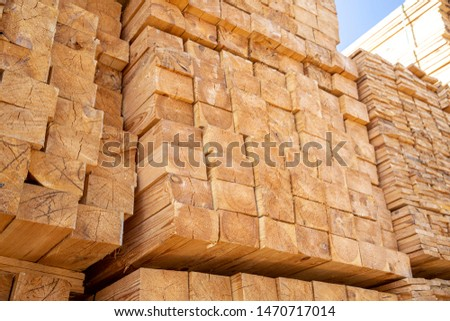 Wooden boards, lumber, industrial wood, timber. Pine wood timber