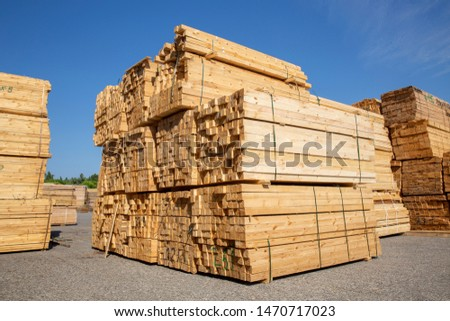 Wooden boards, lumber, industrial wood, timber. Pine wood timber  #1470717023
