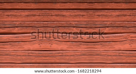 Wooden boards of a cottage with deep Falu red or falun red paint. This is a dye that is used in a deep red paint, well known for its use on wooden cottages and barns in Sweden and Finland Stock fotó ©