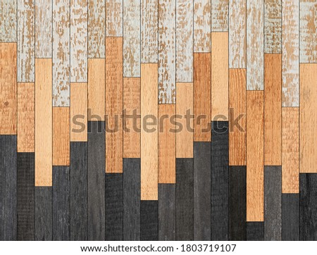 Wooden boards texture background. Old wooden wall made of narrow planks. Stockfoto ©