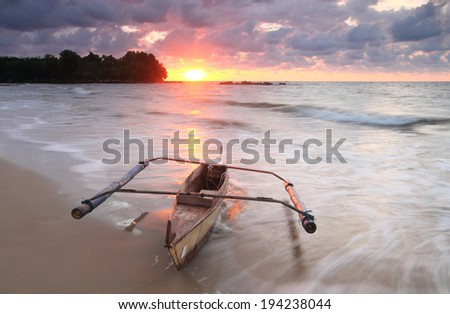 wooden boat and sunset #194238044