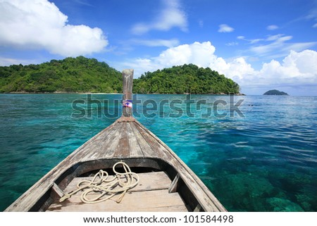 Wooden boat at snorkel diving spot in Surin islands national park, Thailand