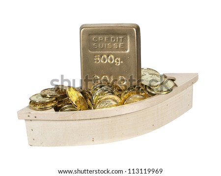 Wooden boat filled with gold coins and gold bars - path included - stock photo