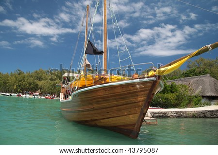 Wooden boat moored in Mauritius