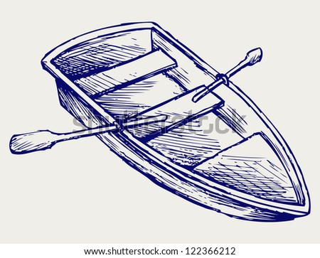 Wooden boat with paddles. Doodle style. Raster version