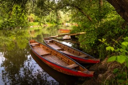 Wooden boats at hidden places in the floodplain forests of the danube river