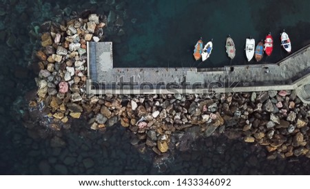 Wooden boats on the water. Boats top view. #1433346092