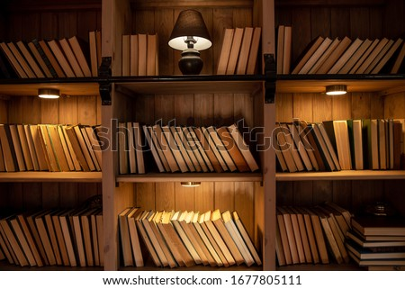 Wooden bookcase with books. On the shelves there are many different books illuminated by warm light. Home library. Stockfoto ©