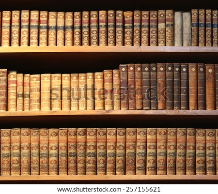 wooden bookshelf with antique books.