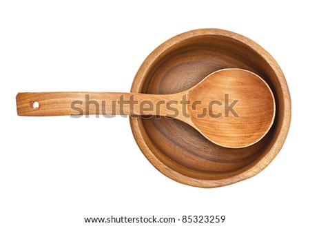 wooden bowl and spoon isolated on white background - stock photo