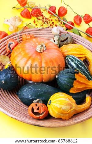 Wooden bowl full of halloween pumpkins, sill life.