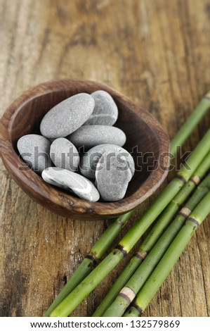 Wooden bowl in stones and thin bamboo grove
