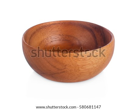 Wooden bowl isolated on white