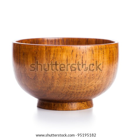 wooden bowl on a white background