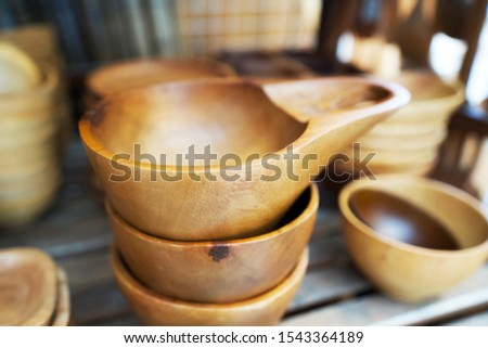 Wooden bowl, that made from rubber wood for being a food container. Food containers made from natural materials.