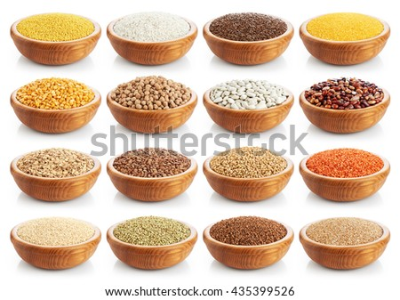 Wooden bowl with porridge, cereals, lentils, peas and beans isolated on white background. Collection. Stockfoto ©