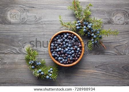 Wooden bowl with seeds of juniper. Juniper branch with berries. Juniper berries in a bowl with a sprig.  #728988934