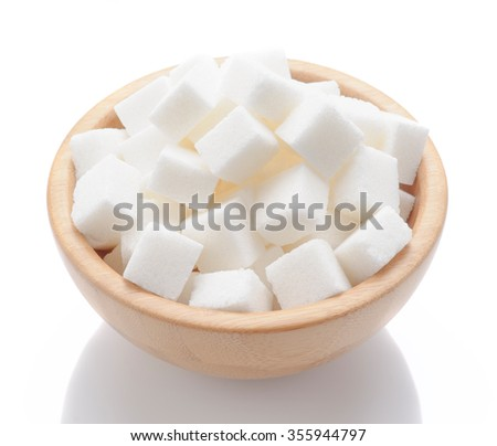 wooden bowl with white sugar cubes #355944797