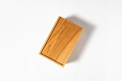Wooden Box Casket Mock up on white background.High resolution photo.Alcohol box.