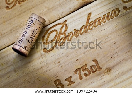 Wooden box for Bordeaux wine - stock photo