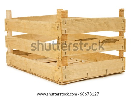 Wooden box isolated on a white background