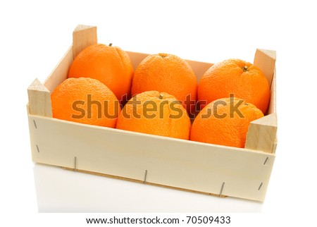 wooden box of oranges on a white background