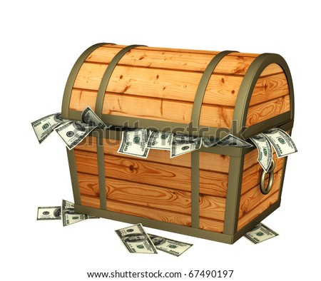 Wooden box with money. Isolated over white
