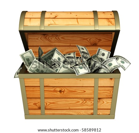 Wooden box with money - over white