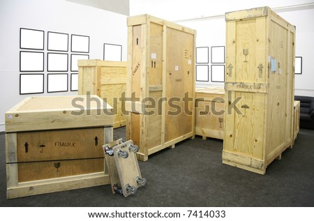 wooden boxes and frames in the room