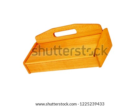 wooden breadbasket for bread isolated on white background